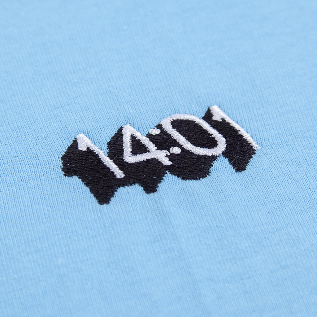 14:01 Skateboard Co Logo T Shirt in Sky Blue - Embroidery