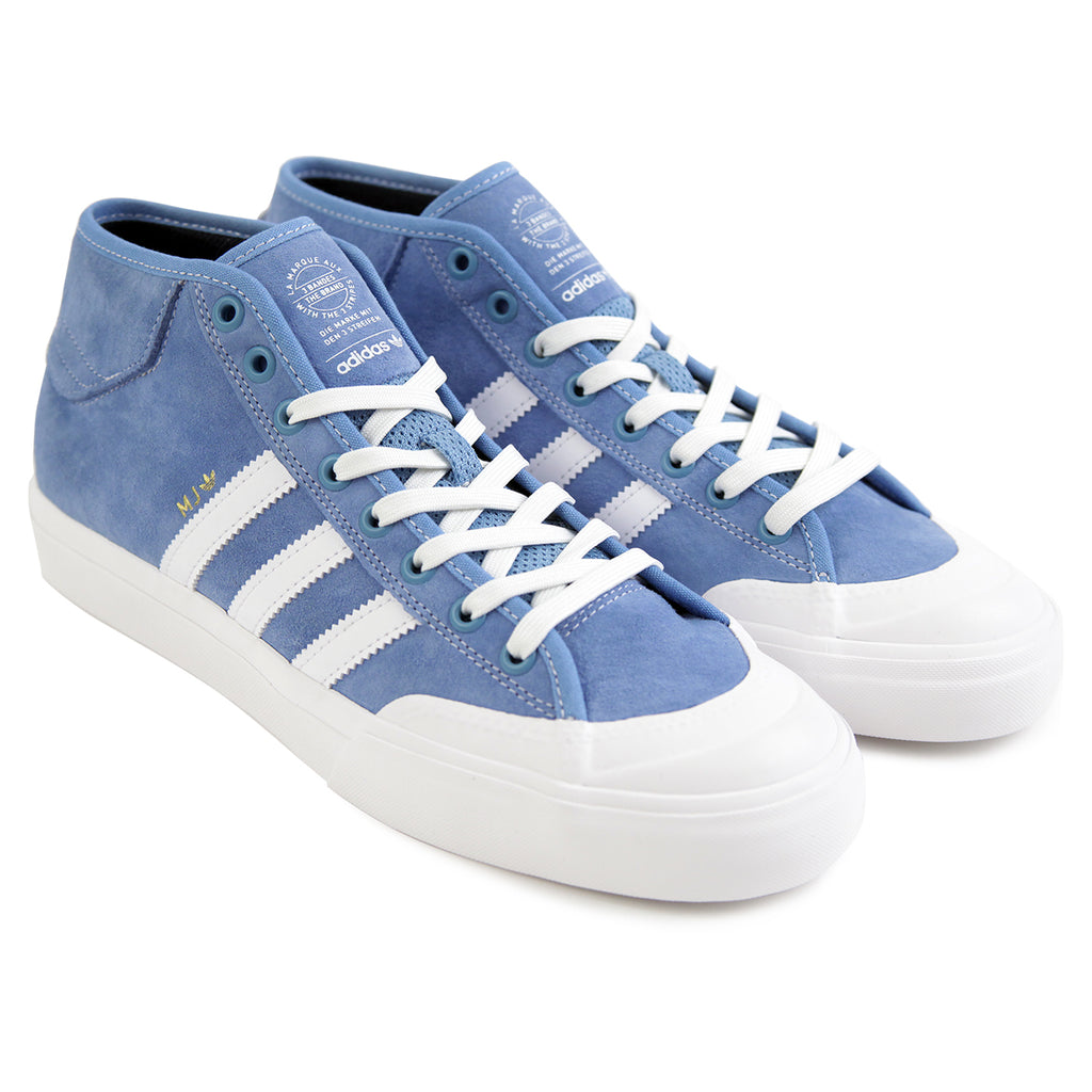 Adidas Skateboarding x Marc Johnson Matchcourt Mid Shoes in Light Blue / Neo White / Gold Metallic - Pair