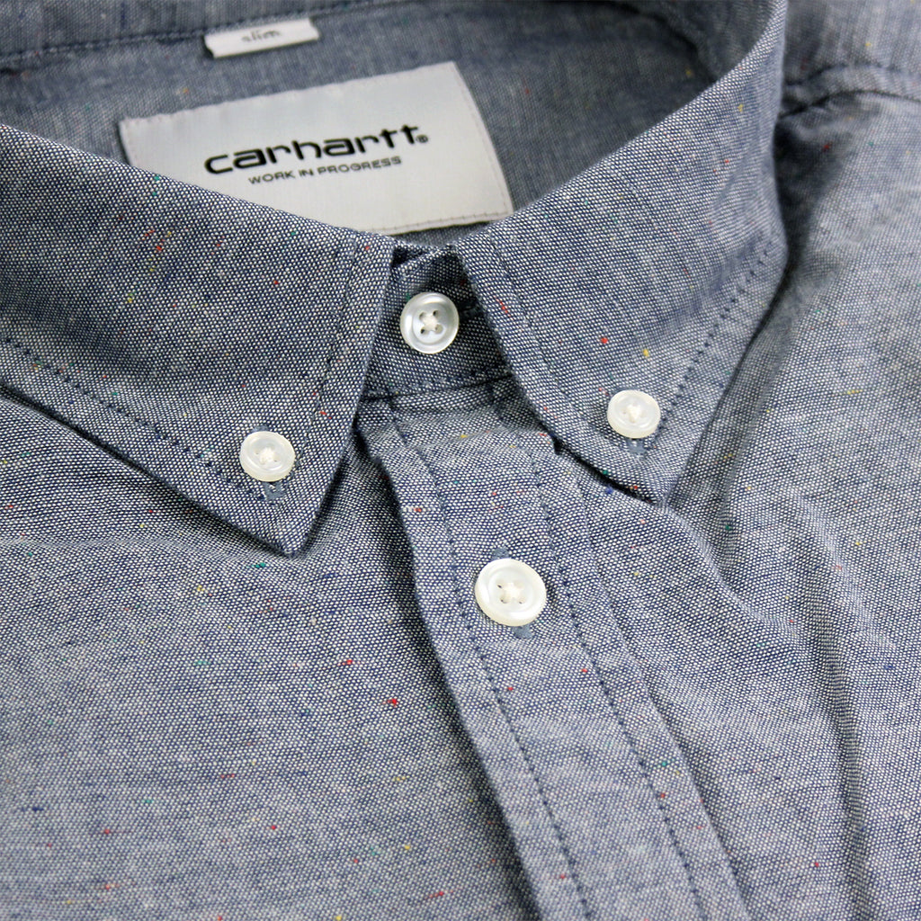 Carhartt WIP Kyoto L/S Shirt in Blue Stone Washed - Collar detail