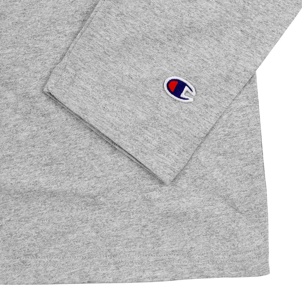 Champion L/S Crew Neck T Shirt in Grey Melange - Sleeve