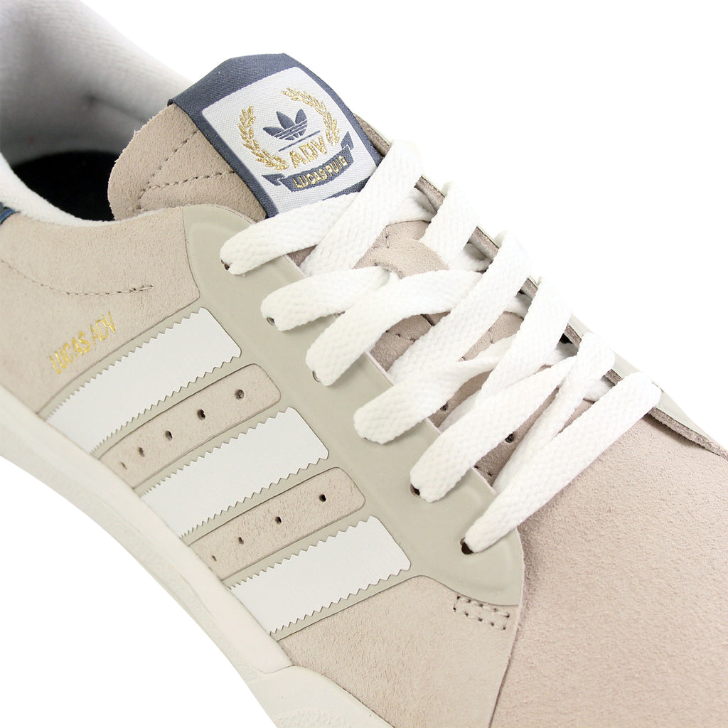 Adidas Skateboarding Lucas ADV Shoes in Footwear White/Mist Stone/Fade Ink - Detail