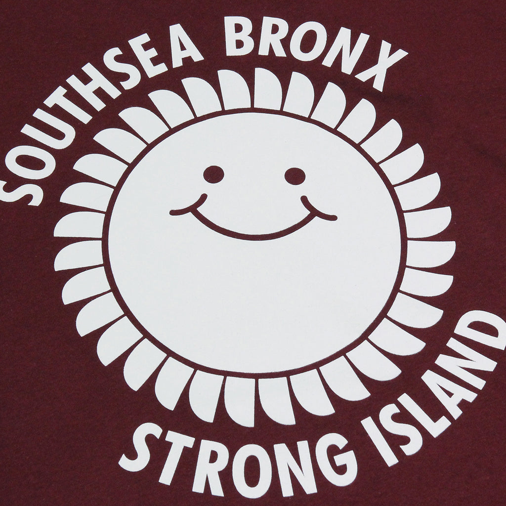 outhsea Bronx Strong Island Long Sleeve T Shirt in White on Maroon - Print