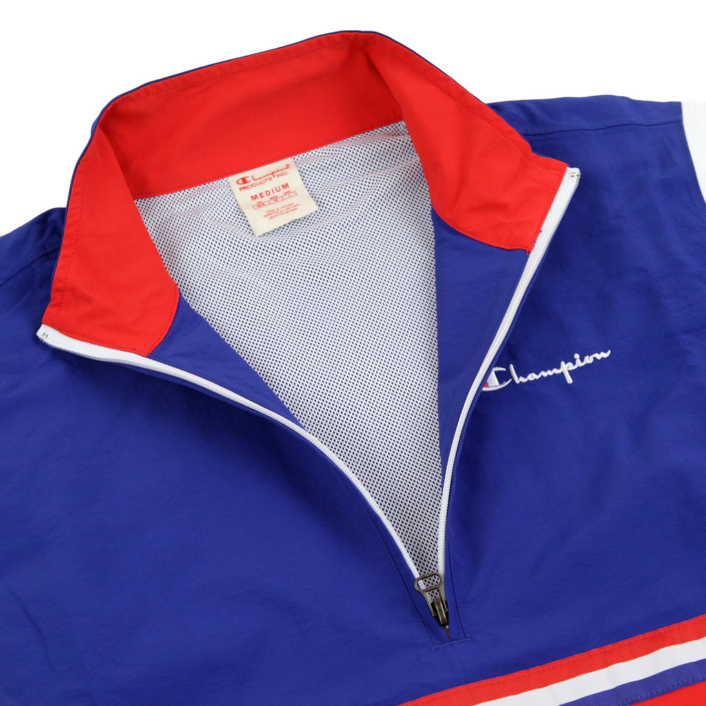 Champion Reverse Weave Half Zip Track Top in Red / Blue / White - Zipper