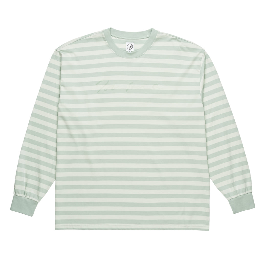 Polar Skate Co Signature Striped L/S T Shirt in Stone Blue