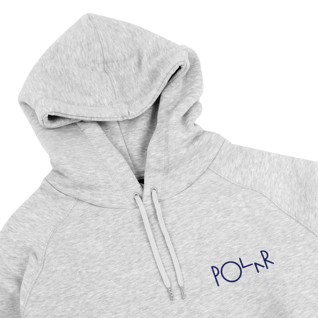 Polar Skate Co Fill Logo Hoodie in Sports Grey / Navy - Detail