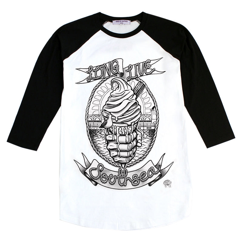 Bored of Southsea Long Live Southsea Raglan in White / Black