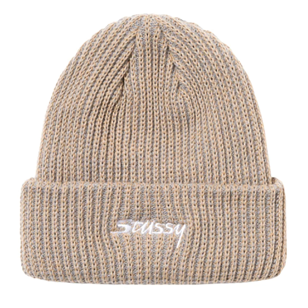 Stussy 2 Tone Knit Short Beanie in Tan