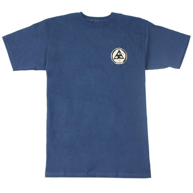 Welcome Skateboards Rocking Dog T Shirt in Harbour Blue