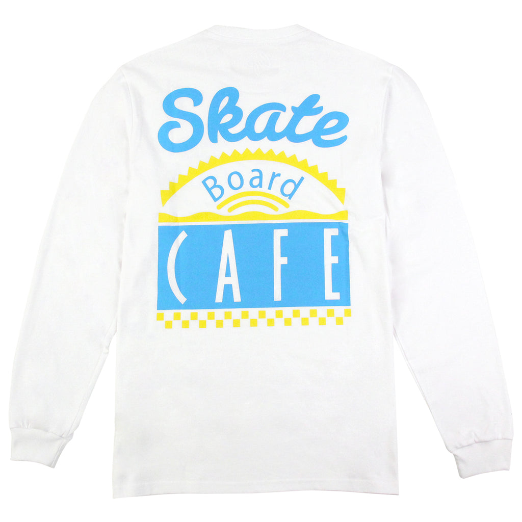 Skateboard Cafe Diner L/S T Shirt in White / Blue / Yellow - Back