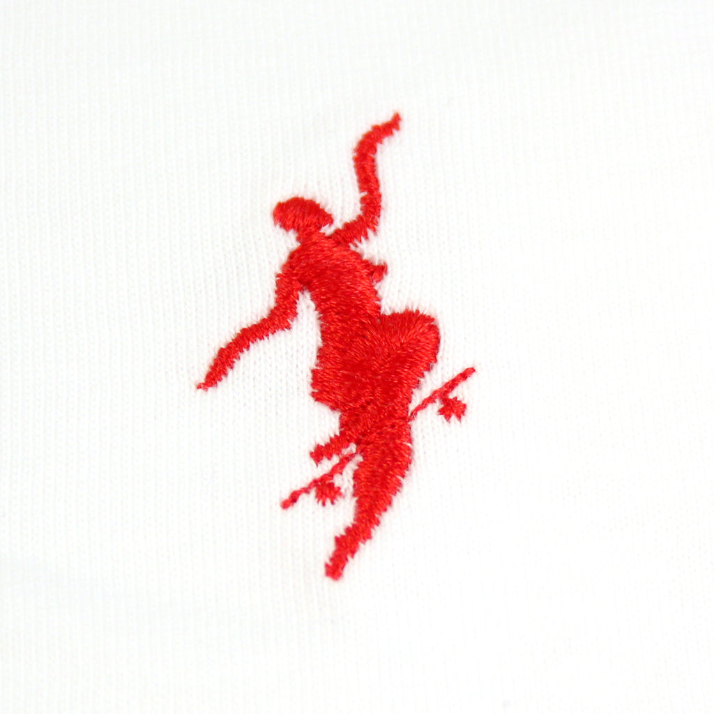 Polar Skate Co No Comply T Shirt in White / Red - Embroidery