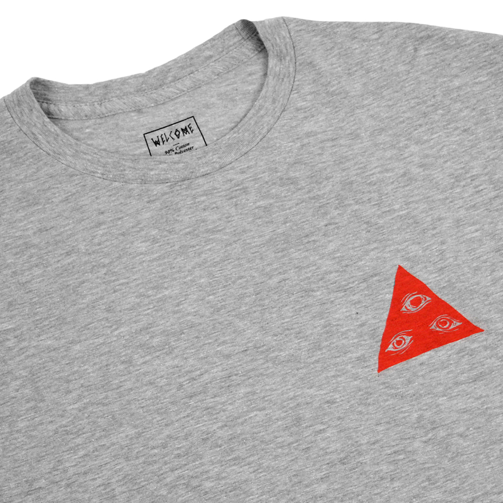 Welcome Skateboards Talisman Tri Colour T Shirt in Heather Grey / Red / White - Front detail
