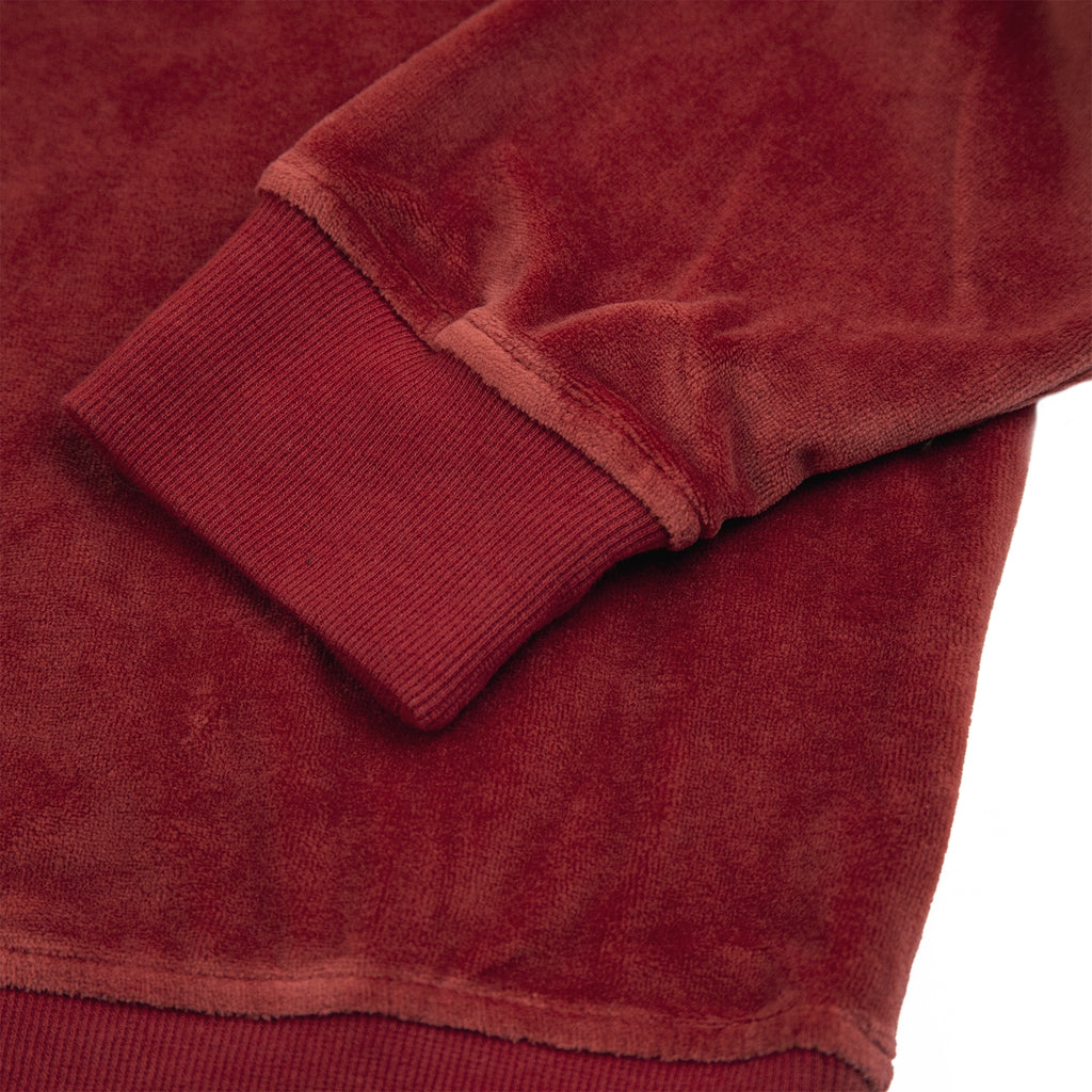 Stussy Velour L/S Zip Mock in Maroon - Cuff Close Up