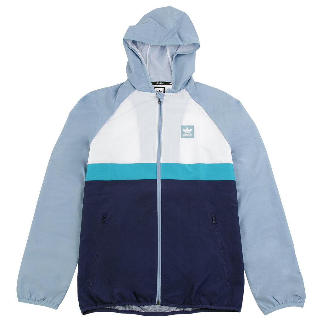 Adidas Skateboarding Blackbird Packable Wind Jacket in White / Ash Grey / Shock Green
