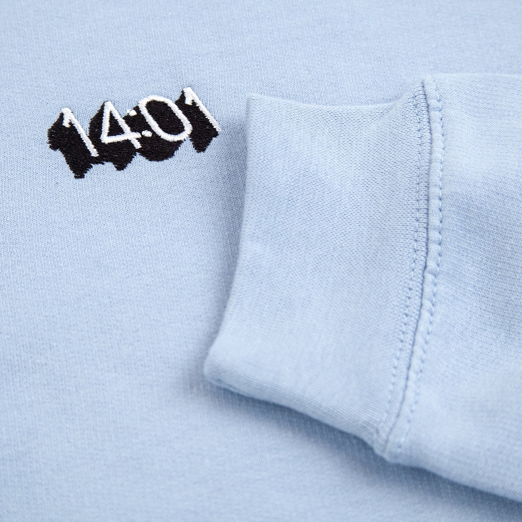14:01 Skateboard Co Logo Hoodie in Sky Blue - Cuff