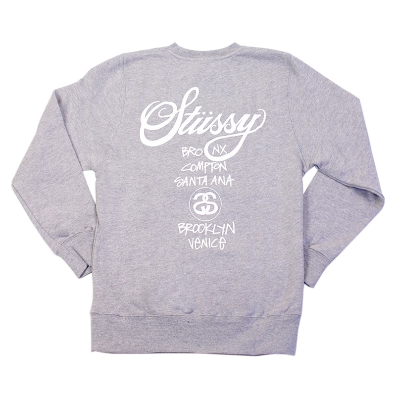 Stussy World Tour Crew in Heather Grey - Back