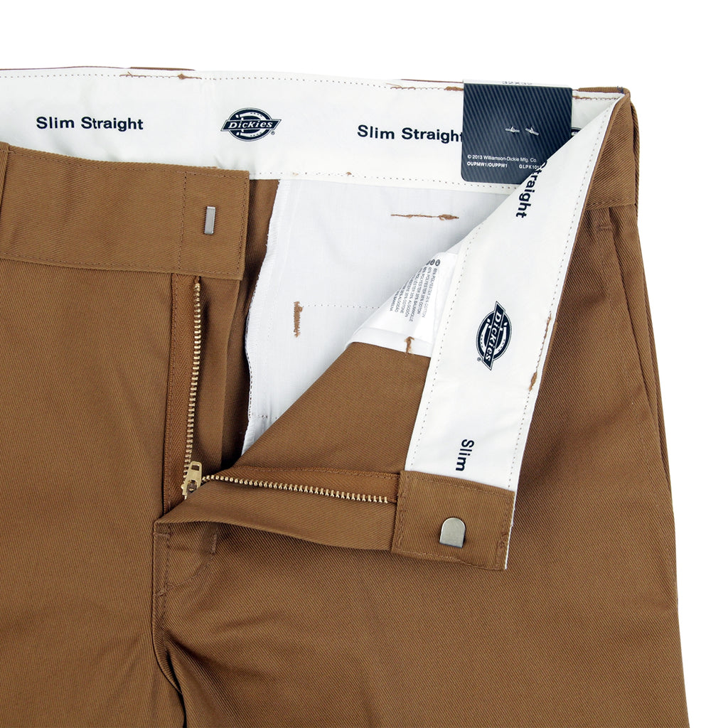 Dickies 873 Slim Straight Work Pant in Brown Duck - Unzipped