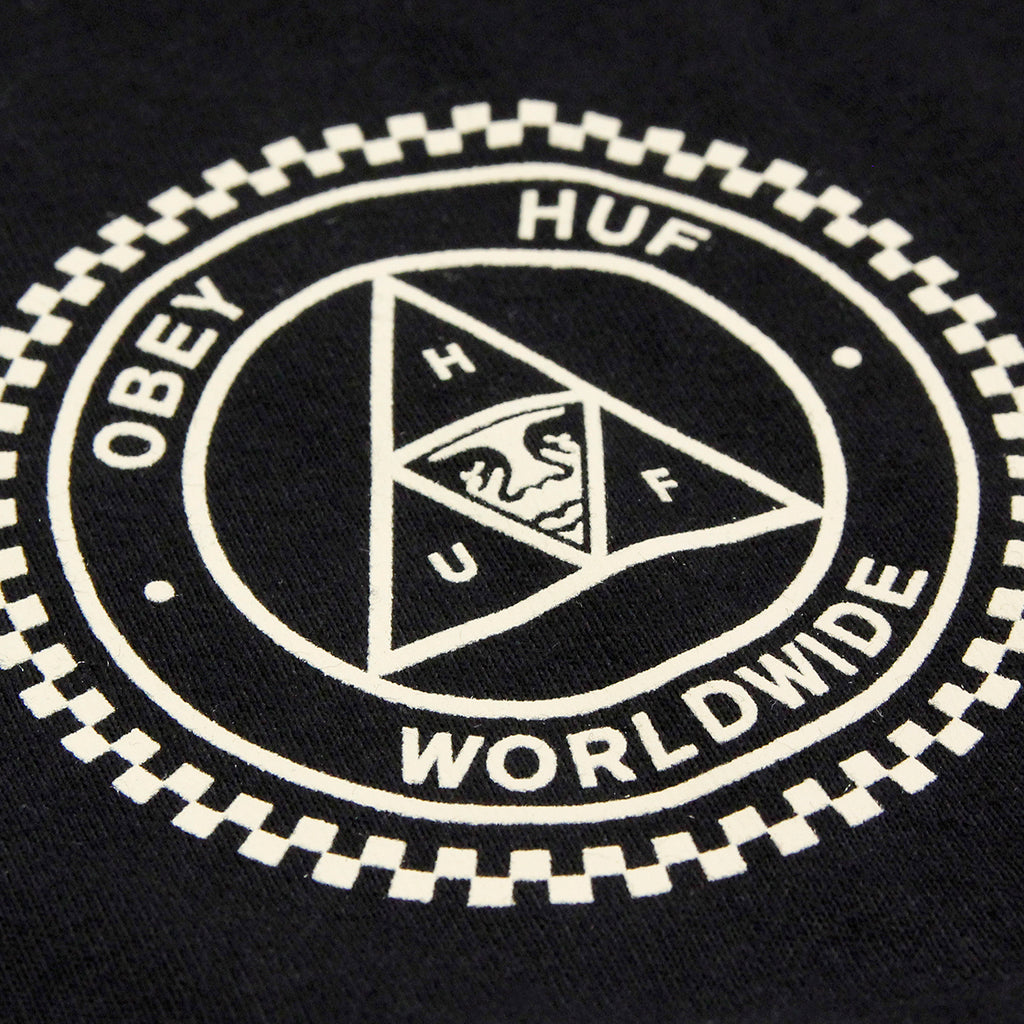 HUF x Obey Rat Race L/S T Shirt in Black - Print detail