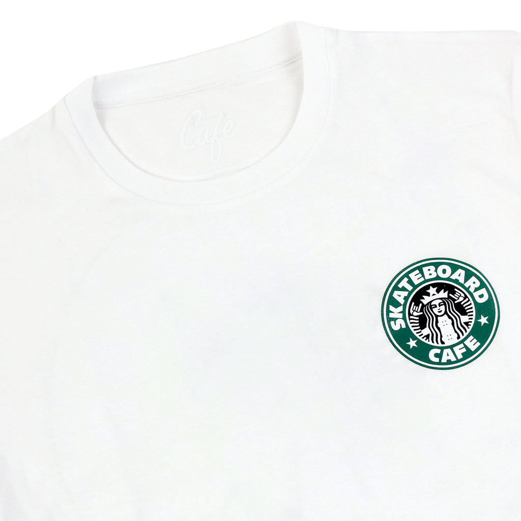 Skateboard Cafe Starf*cks T Shirt in White - Detail