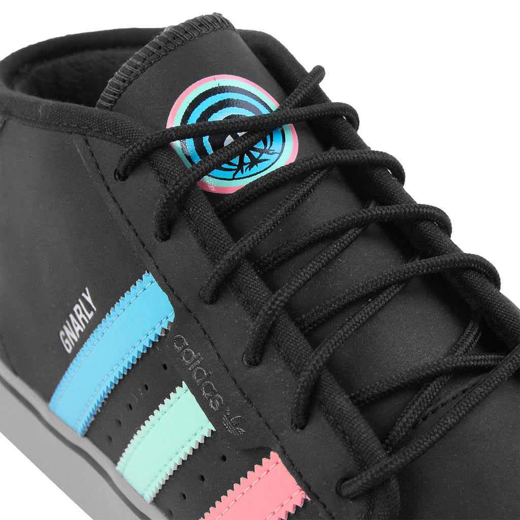 Adidas Skateboarding x Gnarly Seeley Mid Shoes in Core Black / Light Aqua - Detail