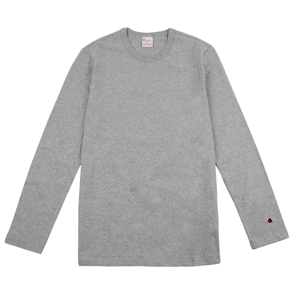 Champion L/S Crew Neck T Shirt in Grey Melange