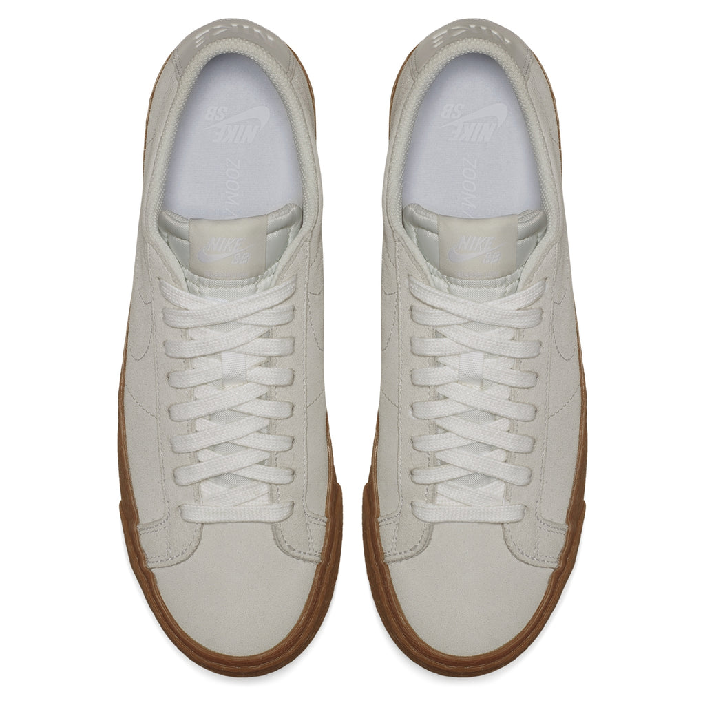 Nike SB Zoom Blazer Low Shoes in Summit White / Summit White / Gum - Top