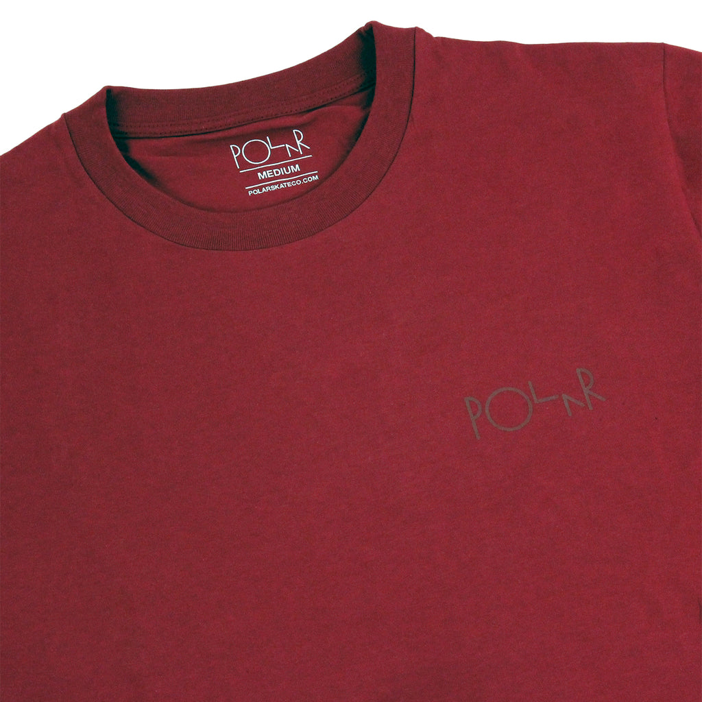 Polar Skate Co Stroke Logo T Shirt in Burgundy / Burgundy - Detail