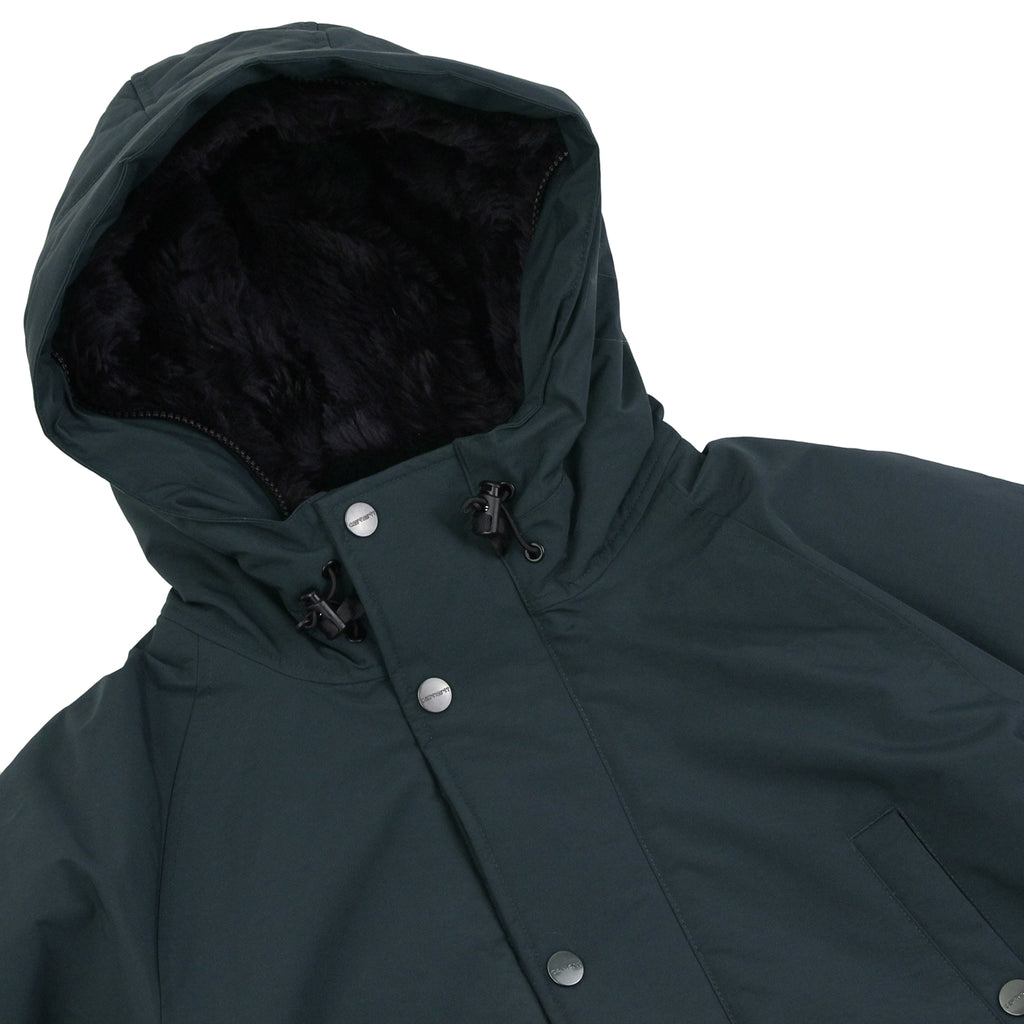 Carhartt Anchorage Parka Jacket - Dark Petrol / Black - Unzipped hood