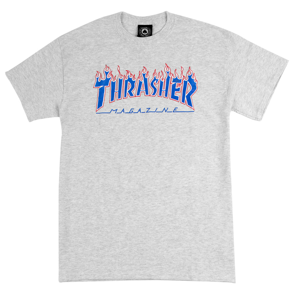 Thrasher Patriot Flame T Shirt in Ash Grey