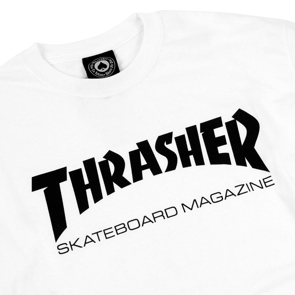 Thrasher Mag Logo L/S T Shirt in White/Black - Detail