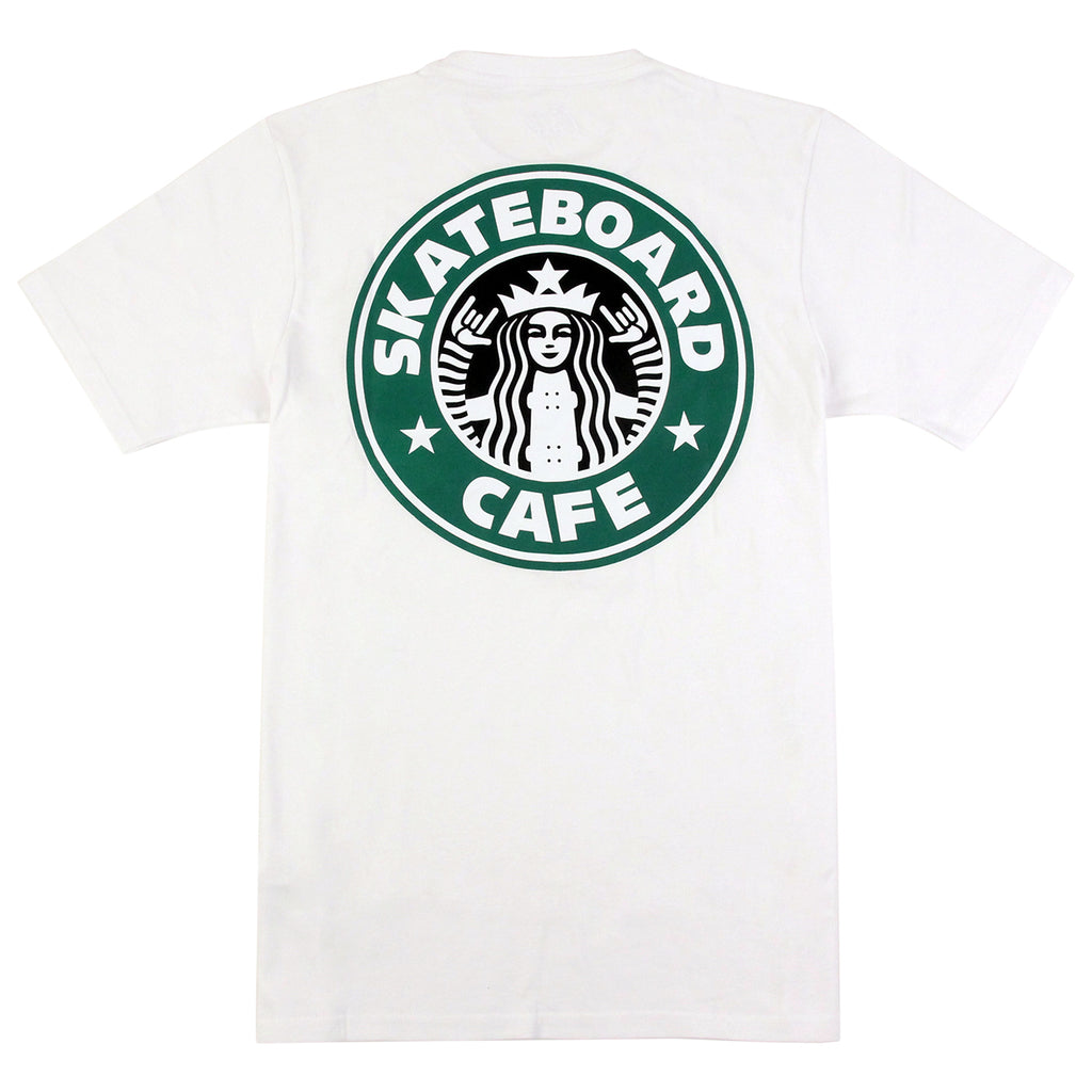 Skateboard Cafe Starf*cks T Shirt in White - Back