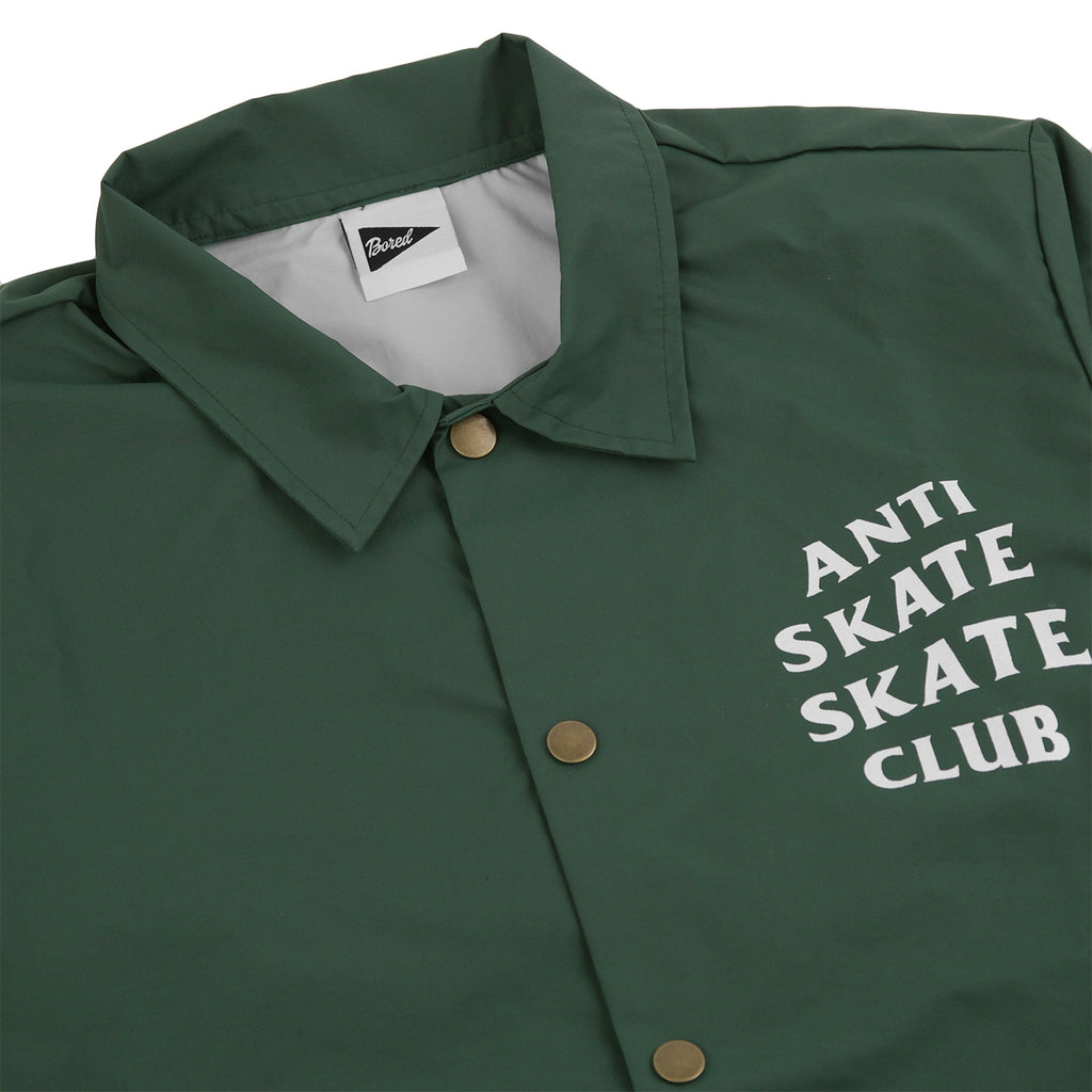 Bored of Southsea Anti Skate Club Coaches Jacket in Forest Green - Detail