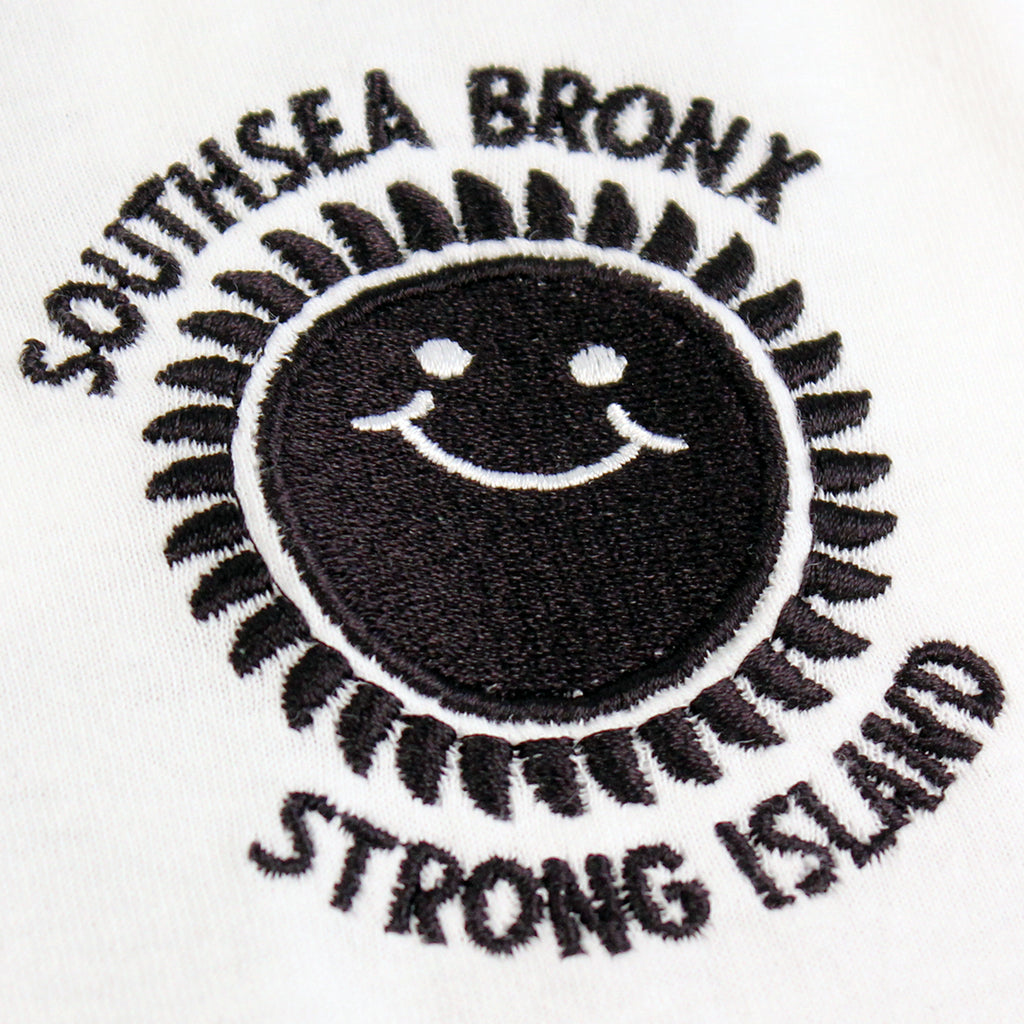 Southsea Bronx Strong Island Football T Shirt in White / Black - Embroidery