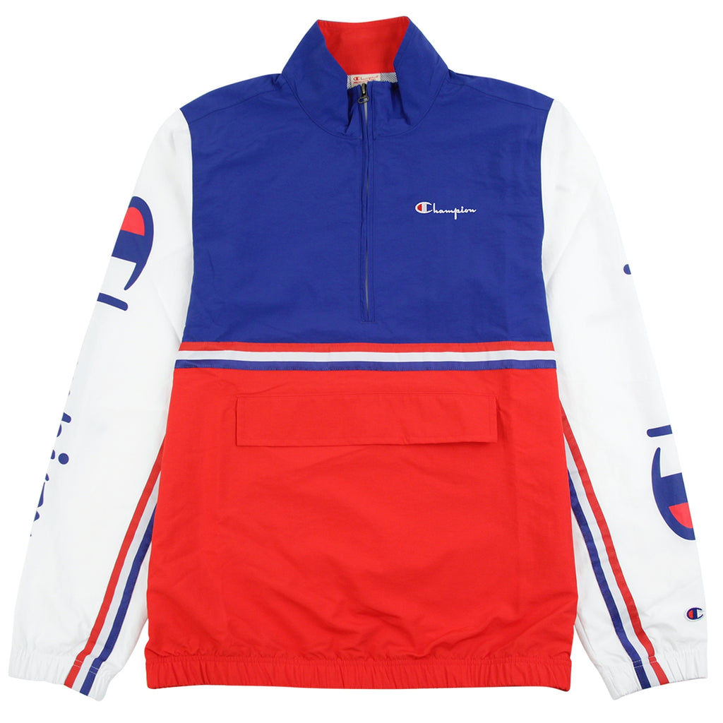 Champion Reverse Weave Half Zip Track Top in Red / Blue / White