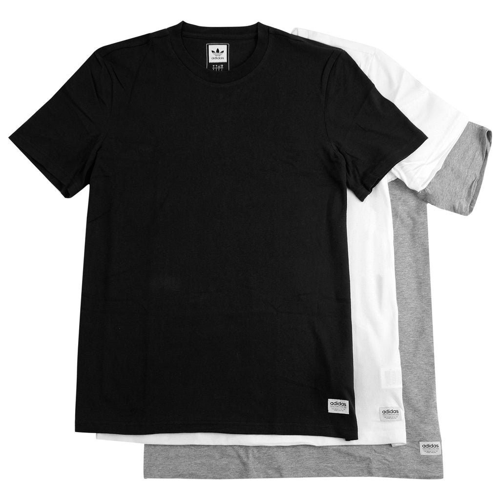 Adidas Skateboarding 3 Pack T Shirts in Black / White / Heather Grey