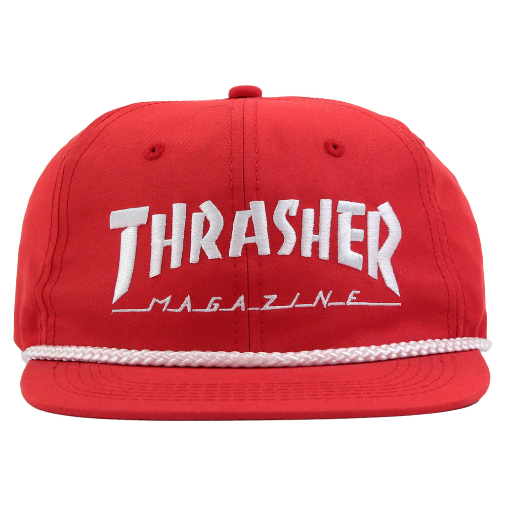 Thrasher Rope Snapback Cap in Red / White - Front