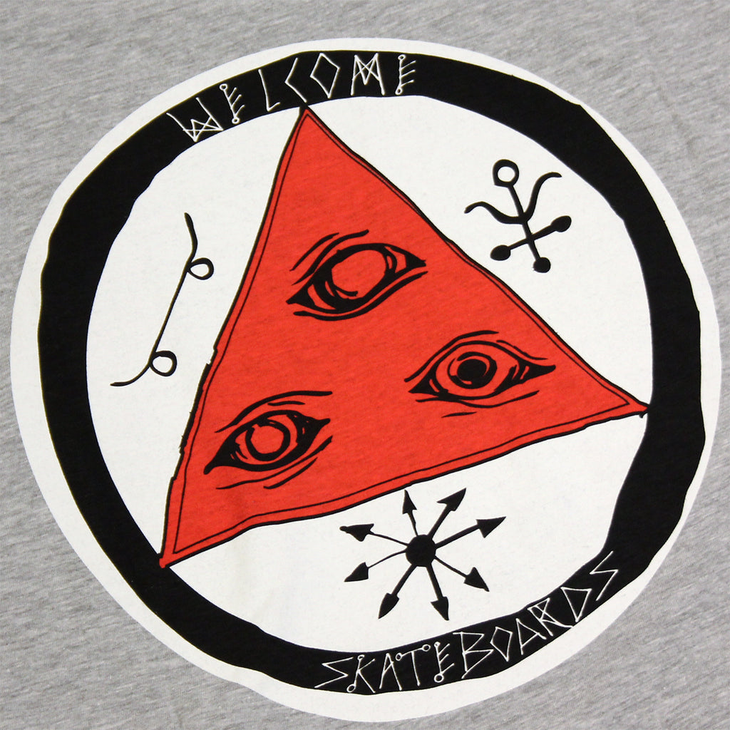 Welcome Skateboards Talisman Tri Colour T Shirt in Heather Grey / Red / White - Back print