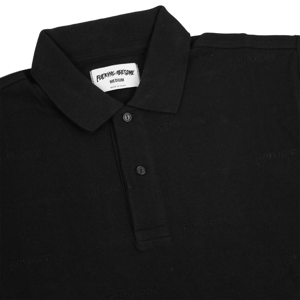 Fucking Awesome Logo Polo Shirt in Black - Detail