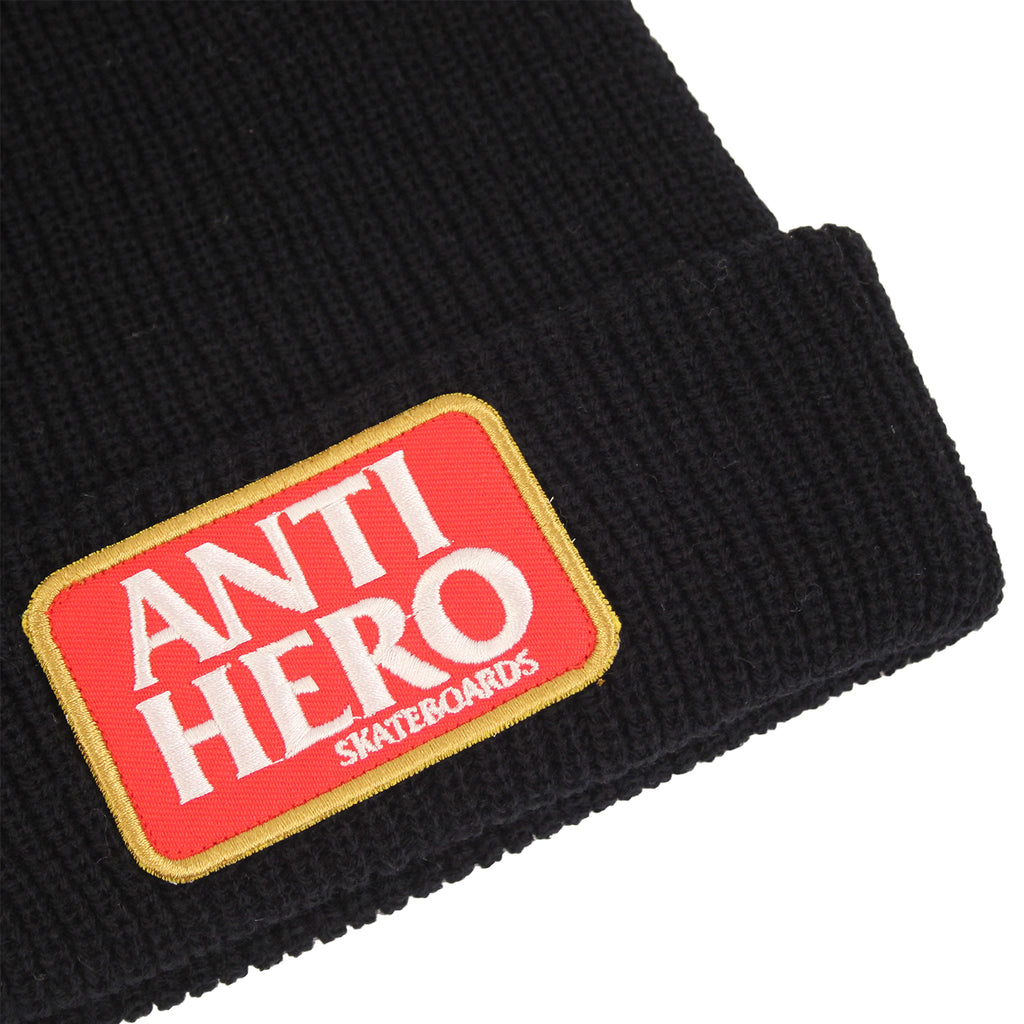 Anti Hero Skateboards Reserve Patch Beanie in Black - Detail
