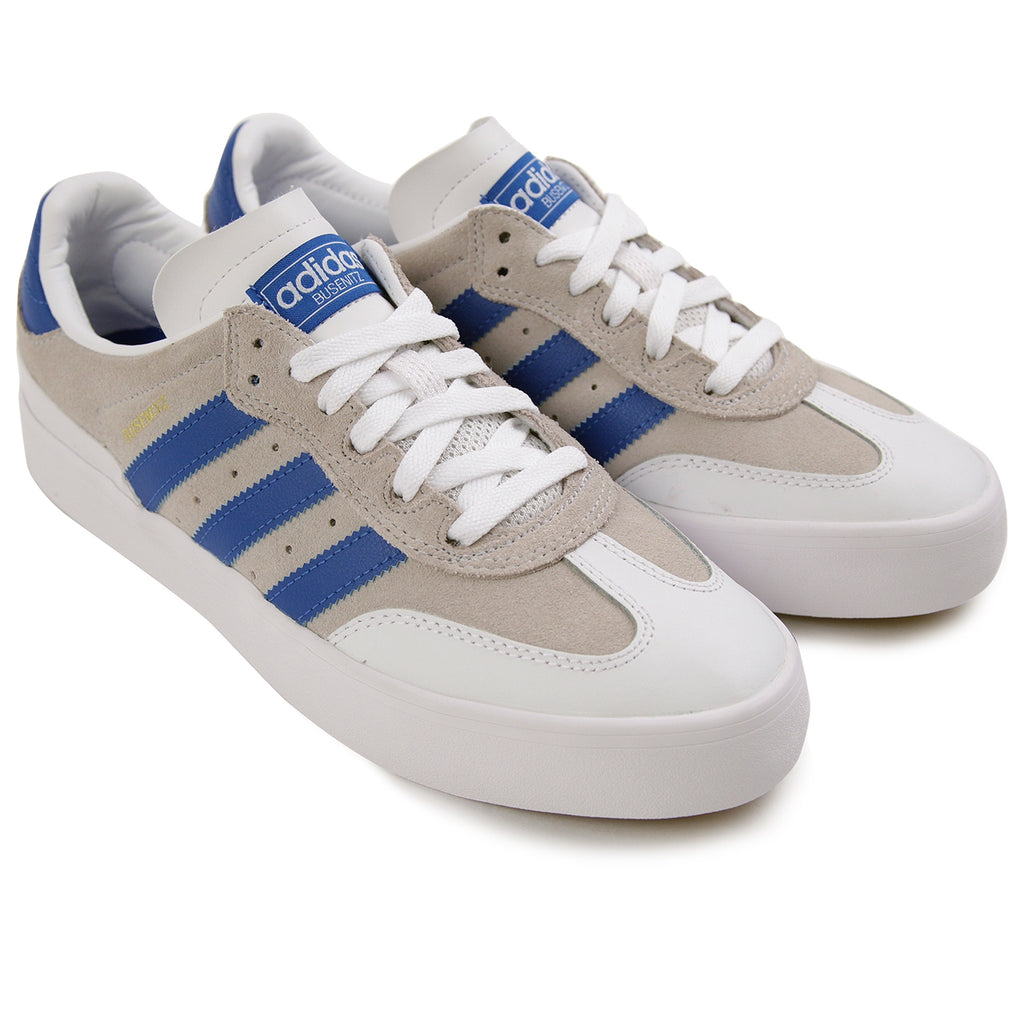 timeless design fd95f 66373 Adidas Busenitz Vulc RX Skate Shoes in Crystal White   Blue Bird   Footwear  White -