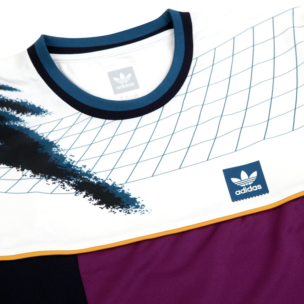 Adidas Skateboarding Tennis Jersey in White / Tribe Purple / Real Teal - Detail