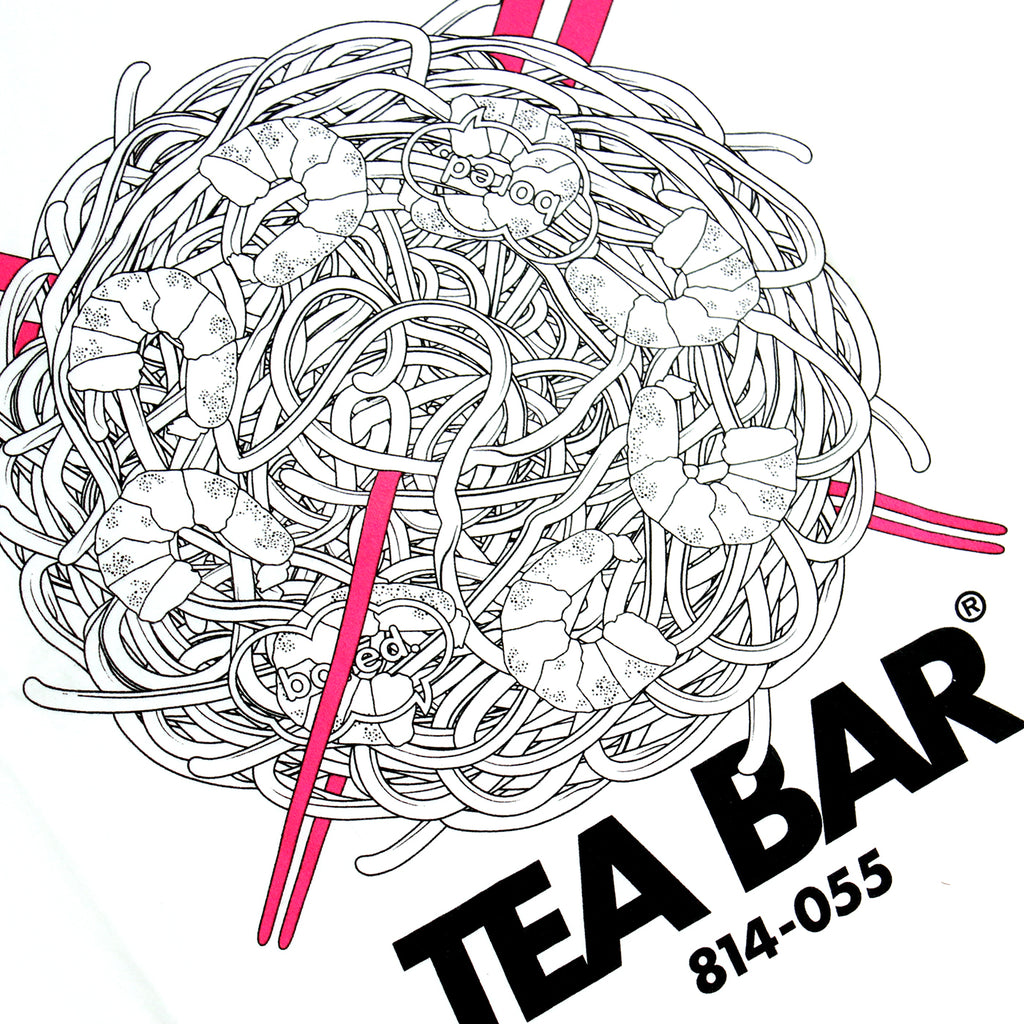 Bored of Southsea Tea Bar T Shirt in White / Hot Pink - Print