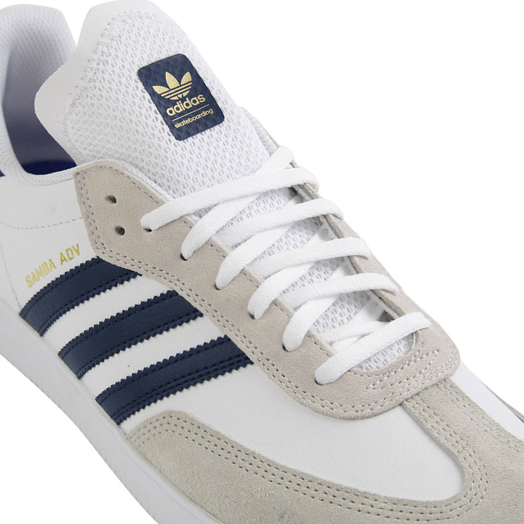 Adidas Skateboarding Samba ADV Shoes in Footwear White / Collegiate Navy / Gold Metallic - Detail