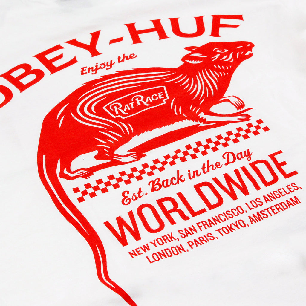 HUF x Obey Rat Race T Shirt in White - Back print
