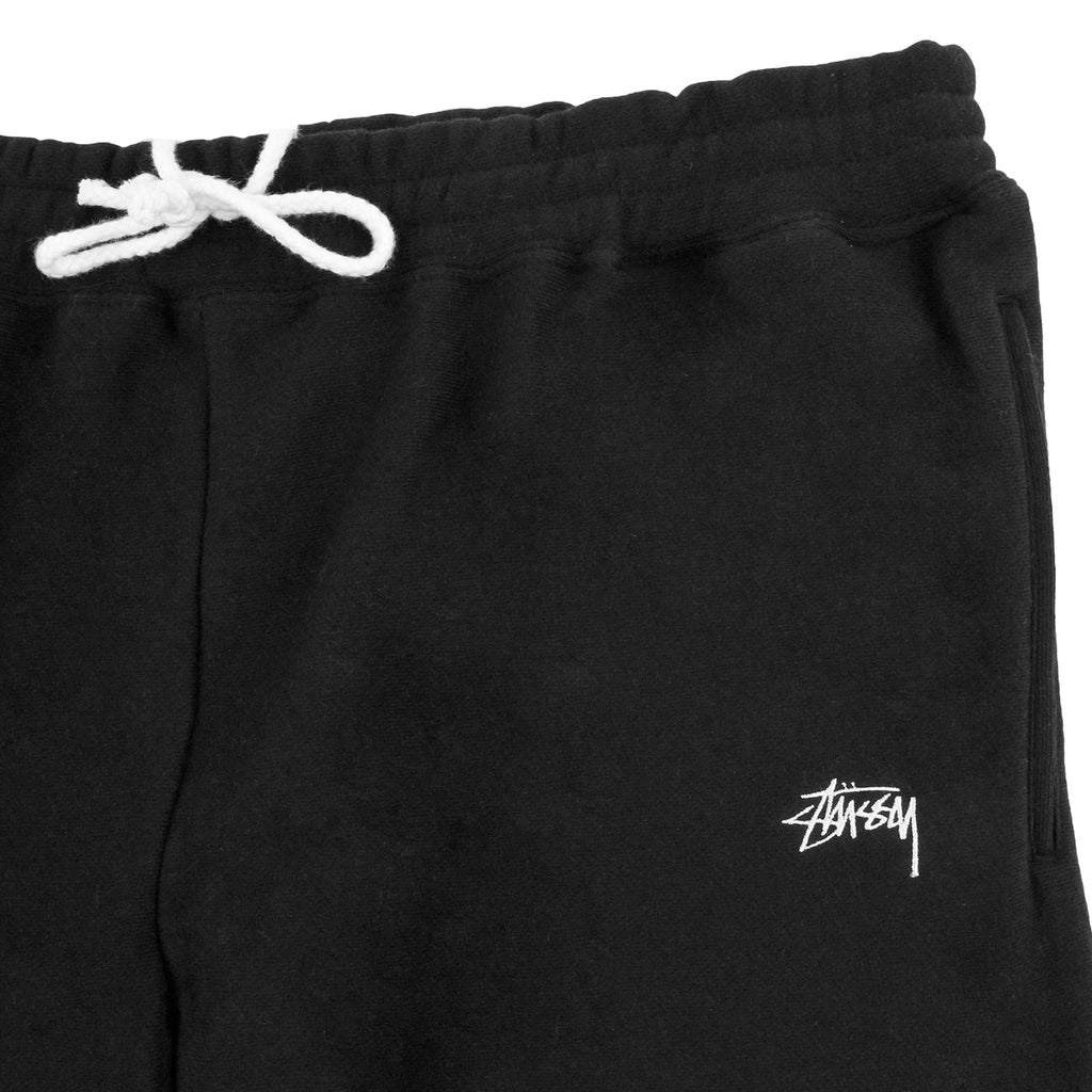 Stussy Stock Fleece Shorts in Black - Detail