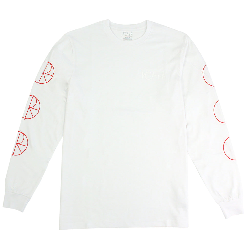 Polar Skate Co Racing L/S T Shirt in White / Red / White