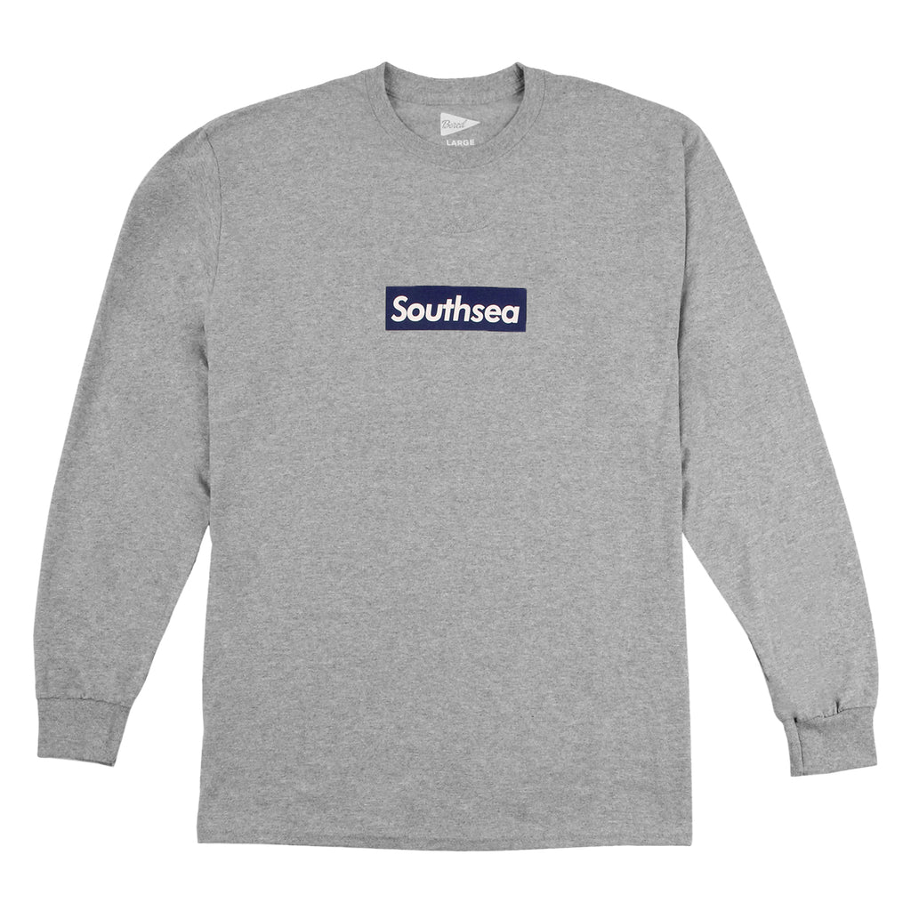 "Bored of Southsea ""Southsea"" Long Sleeve T Shirt in Heather Grey / Blue Box"