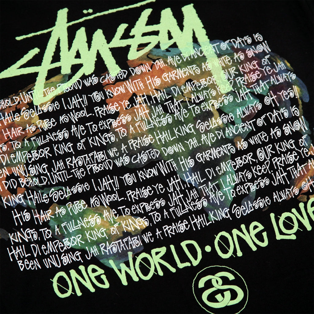 Stussy One World L/S T Shirt in Black - Back print