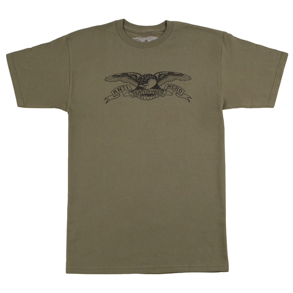Anti Hero Skateboards Basic Eagle T Shirt in Military Green / Black
