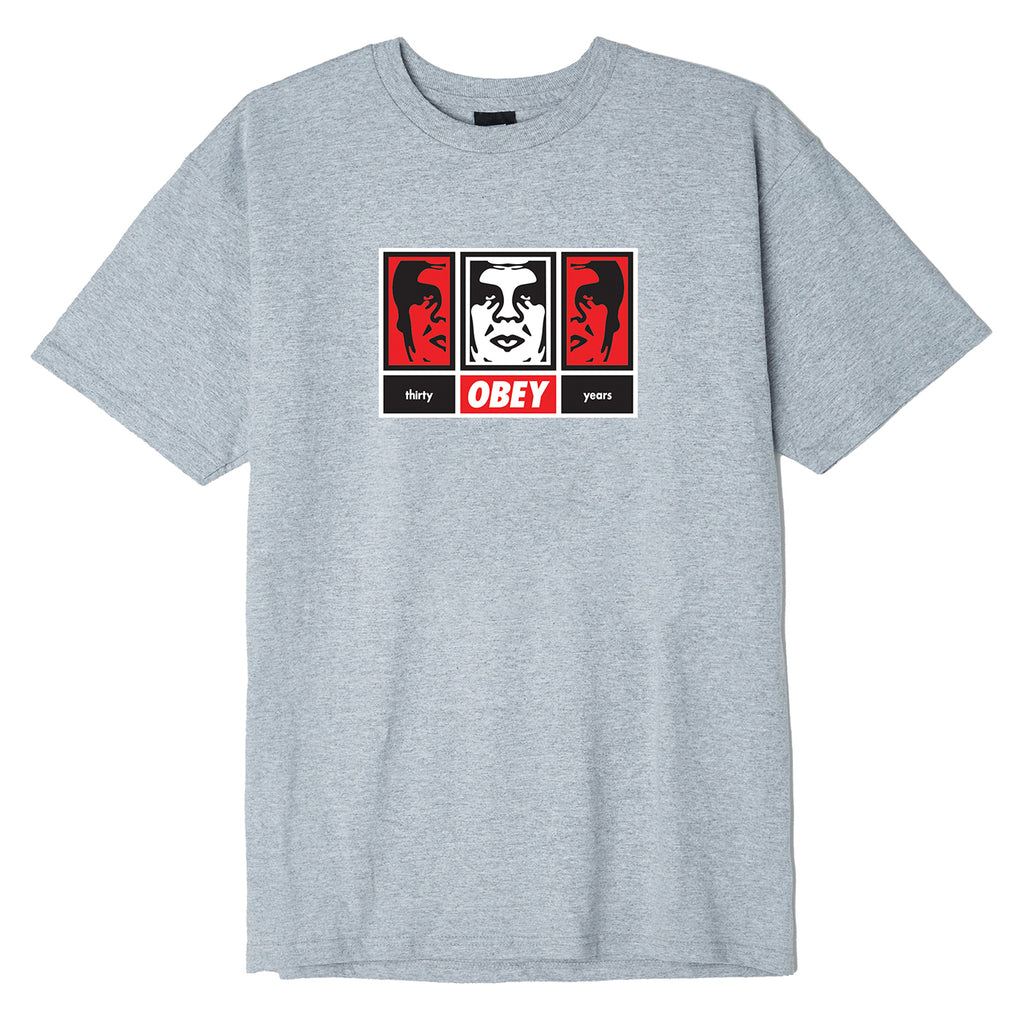 Obey Clothing 3 Faces 30 Years T Shirt in Heather Grey