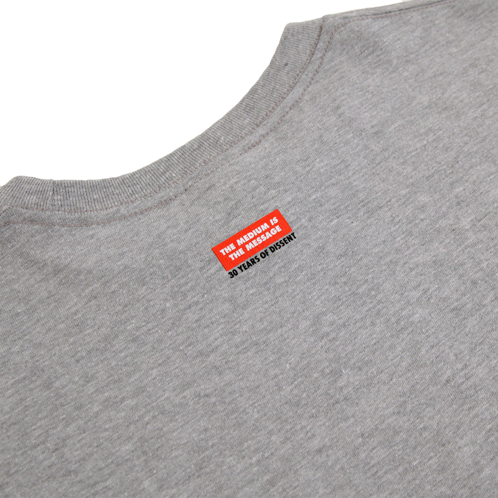 Obey Clothing 3 Faces 30 Years T Shirt in Heather Grey - Back Print